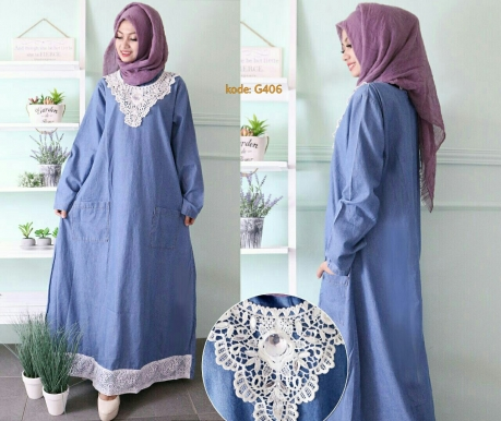 Gamis Double Lace G406 Baju Hijab Style Ootd